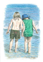 Coloured Pencil Drawing Beach Scene