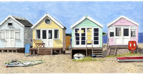 Coloured Pencil Drawing Beach Huts