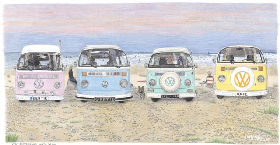 Coloured Pencil Drawing Campervans