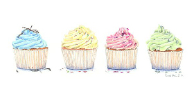 Coloured Pencil Drawing Cupcakes